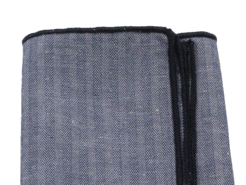 Herringbone Chambray Pocket Square - Fine And Dandy