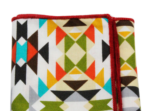 Aztec Print Cotton Pocket Square - Fine And Dandy