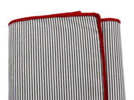Black Striped Cotton Pocket Square - Fine And Dandy