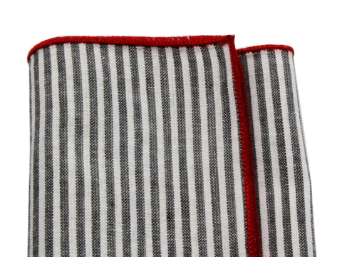 Charcoal Striped Cotton Pocket Square - Fine And Dandy