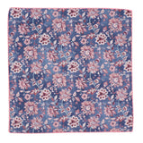 Blue & Pink Floral Cotton Pocket Square - Fine And Dandy