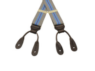 Baby Blue & Taupe Suspenders - Fine And Dandy