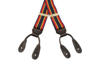 Navy & Red Grosgrain Suspenders - Fine And Dandy