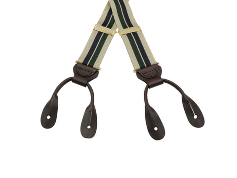 Tan, Green & Navy Grosgrain Suspenders - Fine And Dandy
