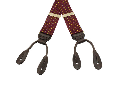 Burgundy Embroidered Dot Suspenders - Fine And Dandy