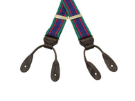 Green, Blue & Red Striped Suspenders - Fine And Dandy