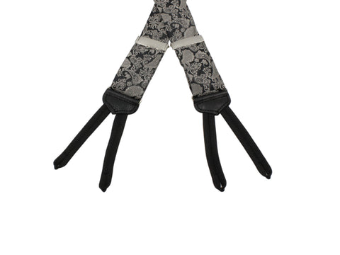 Black & Silver Paisley Suspenders - Fine And Dandy
