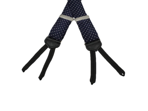 Navy Pin Dot Suspenders - Fine And Dandy
