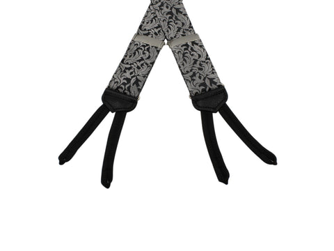 Silver & Black Floral Suspenders - Fine And Dandy