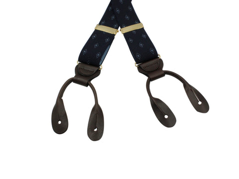 Blue Diamond Elastic Suspenders - Fine And Dandy