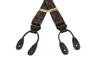 Burgundy Paisley Elastic Suspenders - Fine And Dandy