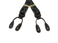 Navy Paisley Elastic Suspenders - Fine And Dandy