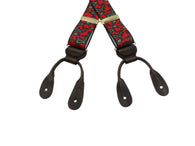 Red Paisley Elastic Suspenders - Fine and Dandy