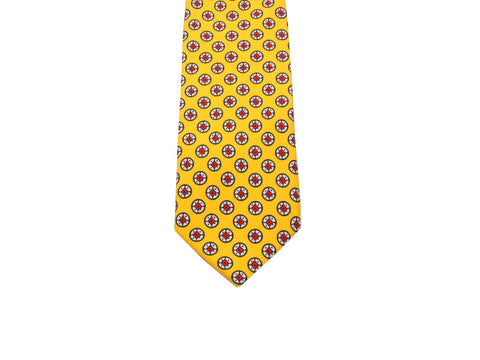Yellow Medallion Silk Tie - Fine And Dandy
