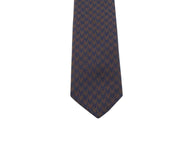 Navy & Brown Houndstooth Silk Tie - Fine And Dandy