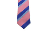 Pink & Blue Striped Silk Tie - Fine And Dandy
