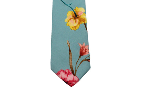 Teal Floral Silk Tie - Fine and Dandy