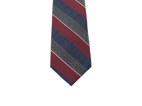Burgundy Striped Wool Blend Tie - Fine And Dandy