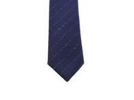 Navy & Green Striped Wool Tie - Fine And Dandy