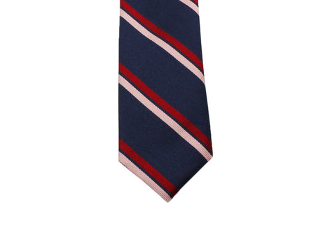 Navy & Pink Repp Stripe Silk Tie - Fine And Dandy