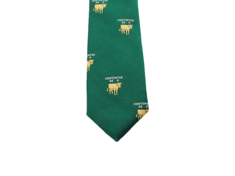 "Green ""Contented As A Cow"" Silk Tie - Fine And Dandy"