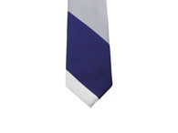 Blue & Grey Bold Striped Silk Tie - Fine And Dandy