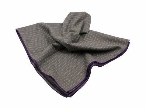 Taupe Chalk Striped Wool Blanket Scarf