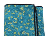 Teal & Gold Floral Cotton Pocket Square - Fine And Dandy
