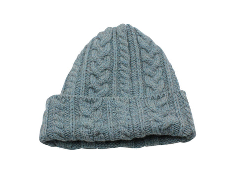 Light Blue Cable Knit Watch Cap - Fine And Dandy