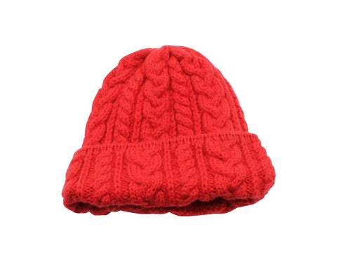 Red Cable Knit Watch Cap - Fine And Dandy