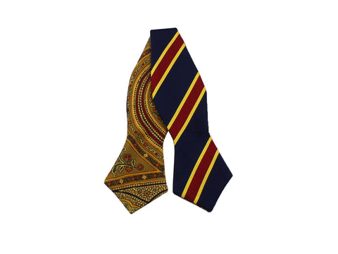 Repp Stripe & Persian Reversible Bow Tie - Fine And Dandy