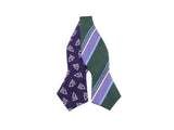 Purple Deco & Green Stripe Reversible Bow Tie - Fine And Dandy