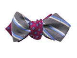 Burgundy Florette & Striped Reversible Bow Tie - Fine And Dandy