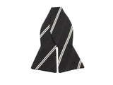 Black & White Striped Silk Bow Tie - Fine And Dandy