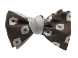 Silver & Brown Deco Reversible Bow Tie - Fine And Dandy