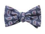 Blue Paisley Wool Bow Tie - Fine And Dandy