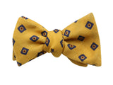 Yellow Medallion Wool Bow Tie - Fine And Dandy