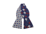Navy & Grey Florette Reversible Wool Bow Tie - Fine And Dandy