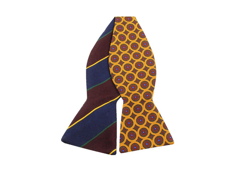 Gold Medallion & Striped Reversible Bow Tie - Fine And Dandy