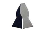 Navy Tonal Striped & Silver Reversible Bow Tie - Fine And Dandy