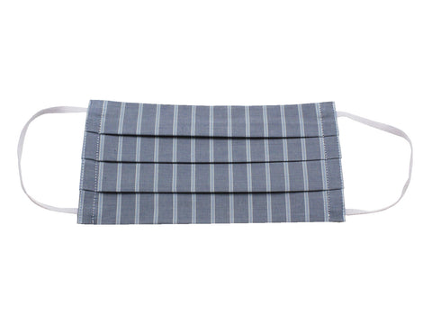 Grey & Blue Striped Face Mask - Fine And Dandy