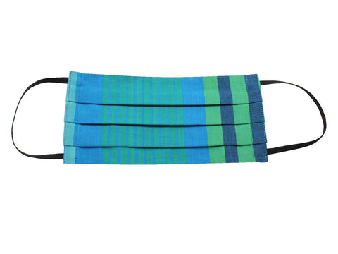 Blue & Green Striped Face Mask - Fine And Dandy