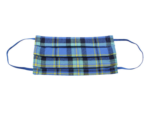 Royal Blue Plaid Flannel Face Mask - Fine And Dandy