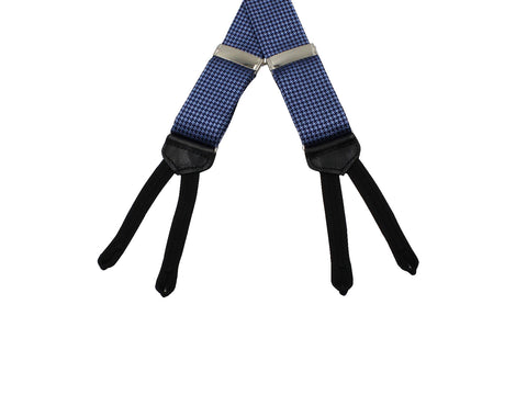 Blue Houndstooth Suspenders - Fine And Dandy