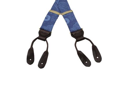 Blue Paisley Suspenders - Fine And Dandy