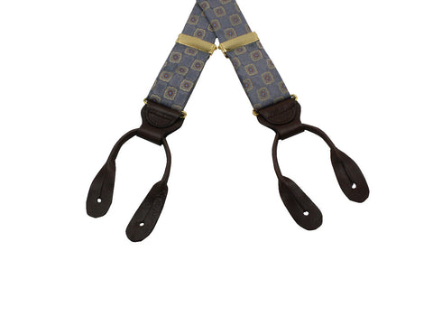 Grey Medallion Suspenders - Fine And Dandy