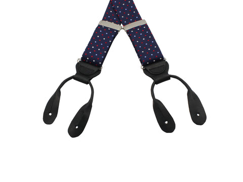 Red, White, & Blue Polka Dot Suspenders - Fine And Dandy