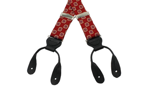 Red Medallion Suspenders - Fine And Dandy
