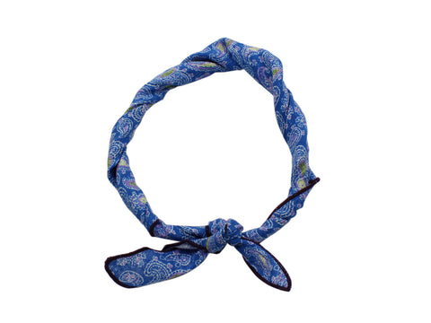 Sky Blue Paisley Linen Neckerchief - Fine And Dandy