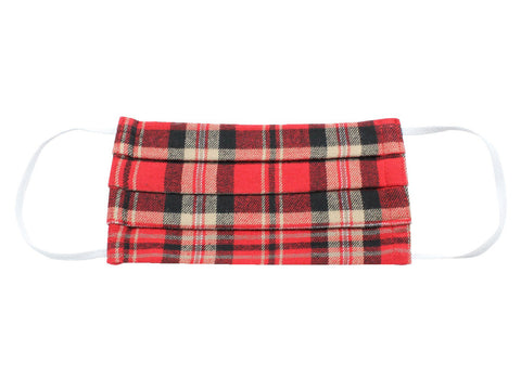 Red Tartan Flannel Face Mask - Fine And Dandy